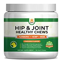 Hip & Joint Supplement for Dogs - Hemp Oil Infused Soft Chews Dog Treats w/Glucosamine...