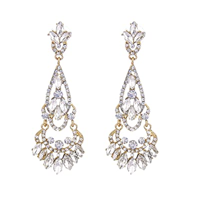 64893b0be Buy NLCAC Tear Drop Earrings Chandelier Crystal Wedding Dangle Ear Drop Marquise  Earrings Red Crystal Online at Low Prices in India | Amazon Jewellery Store  ...