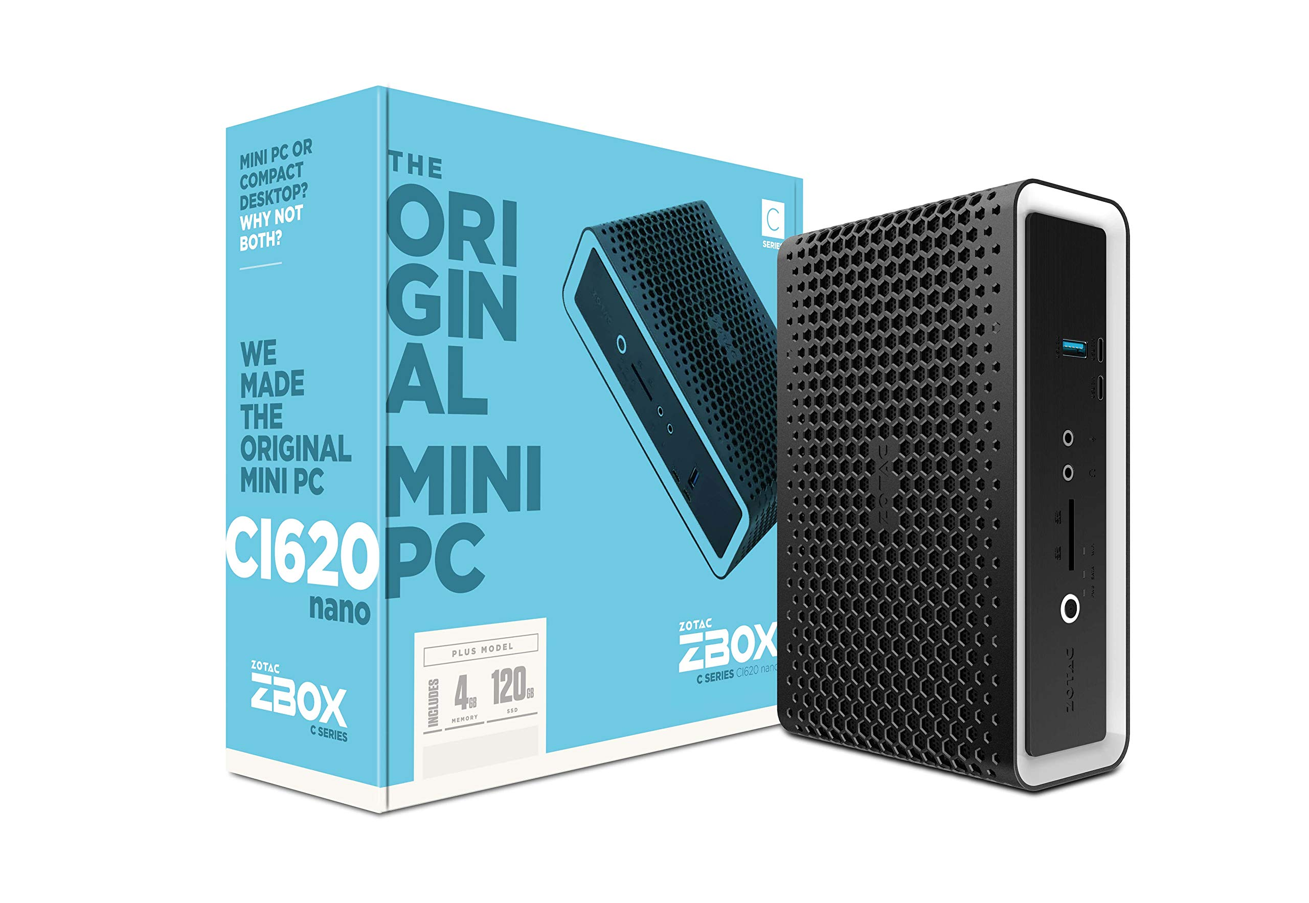 ZOTAC ZBOX CI620 Nano Plus Silent Mini PC 8th Gen Intel Core i3-8130U UHD 620 4GB DDR4/120GB SSD/No OS (ZBOX-CI620NANO-P-U) by ZOTAC (Image #1)
