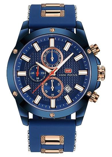 Mini Focus - Reloj de Quartz Cuarzo para Hombre con Fecha Cronógrafo Impermeable Banda de Silicona Deportivo - Azul: Amazon.es: Relojes