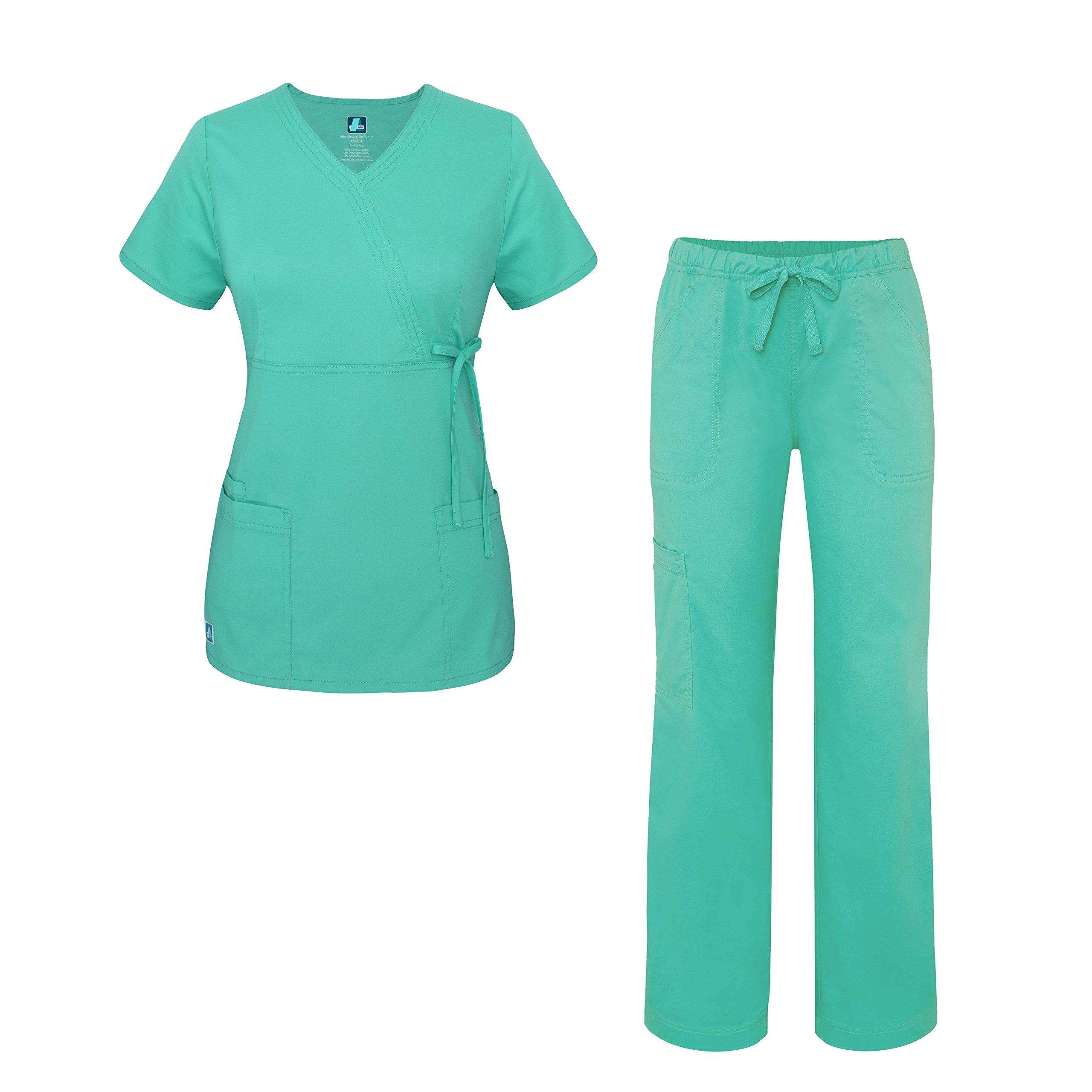 Pop-Stretch Junior Fit Women's Scrub Set - Mock Wrap Tie Top and Cargo Pants - 3502 - Sea Glass - S