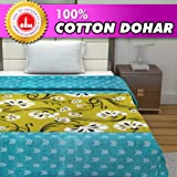 Divine Casa 100% Cotton Reversible Blanket/Duvet Easyweight, AC Single DOHAR, Geometric- Blue Topaz and Apple Green