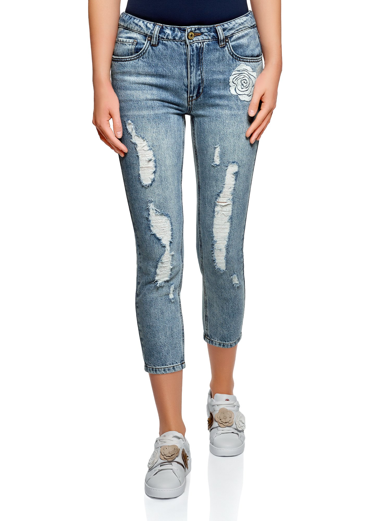 oodji Ultra Women's Embroidered Boyfriend Jeans, Blue, 29W / 32L (US 8 / EU 42 / L)