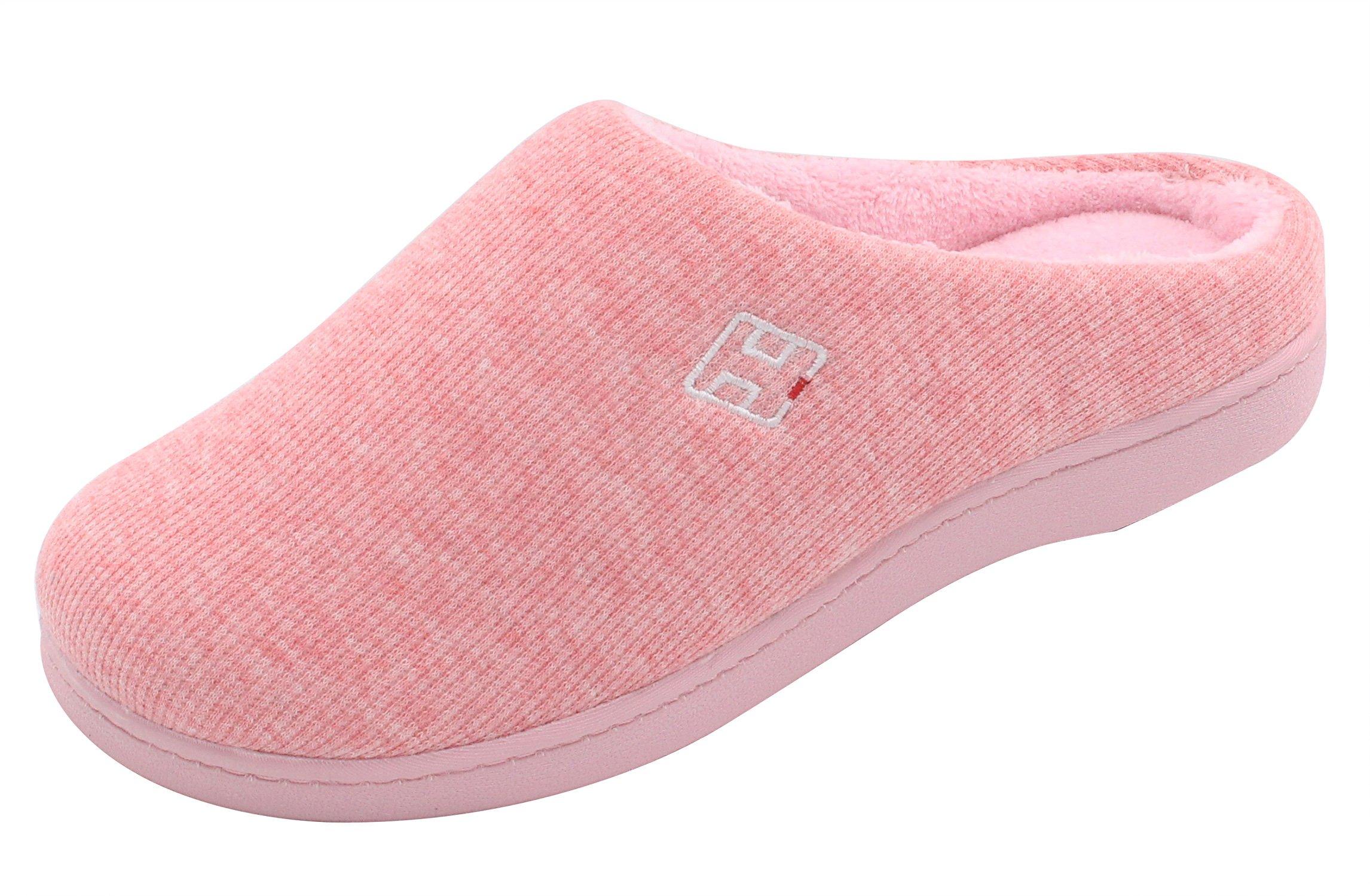 HomeIdeas Women's Classic Memory Foam Plush House Slippers, Lightweight and Anti-Slip (Medium / 7-8 B(M) US, Pink)