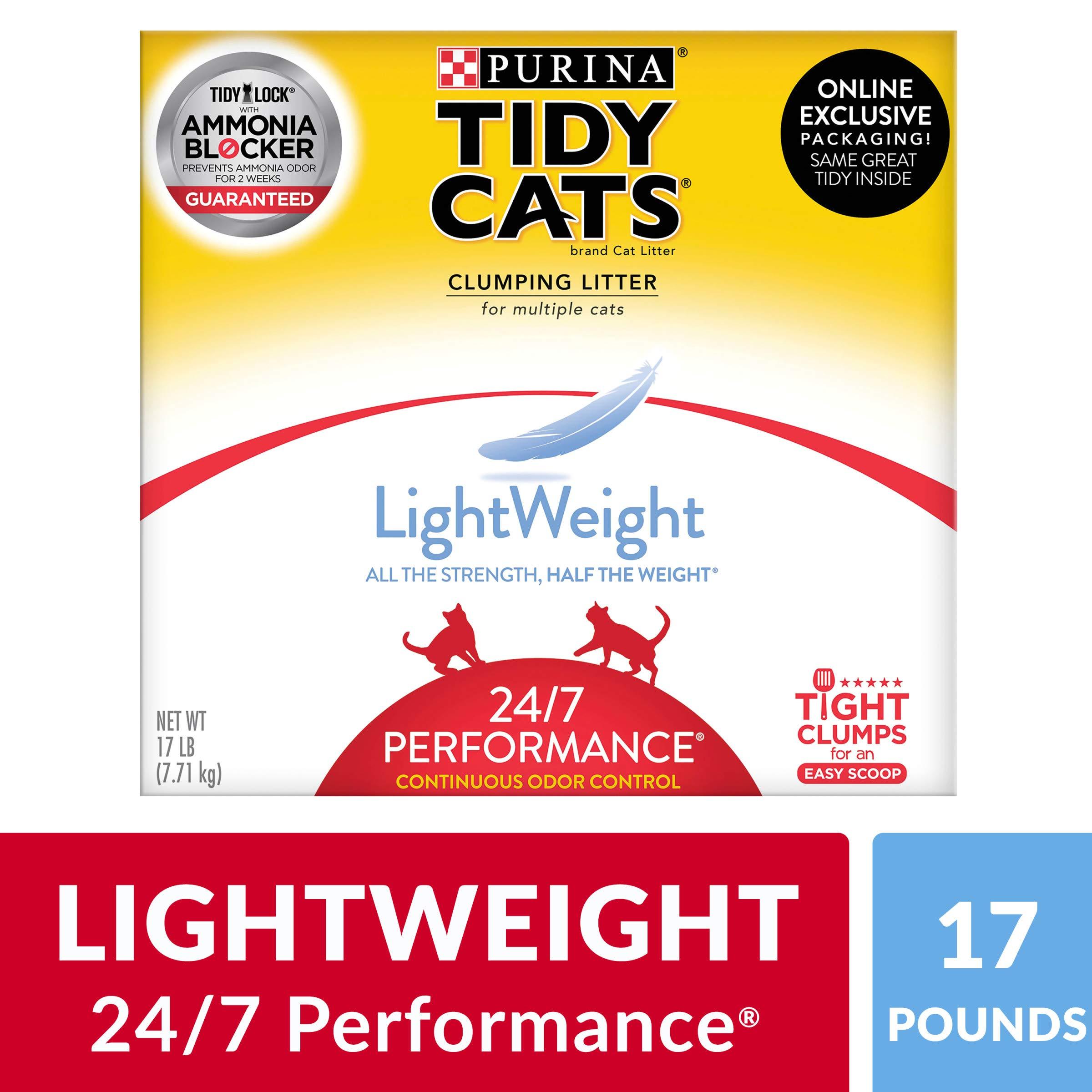 Purina Tidy Cats Light Weight, Low Dust, Clumping Cat Litter, LightWeight 24/7 Performance Multi Cat Litter - 17 lb. Box by Purina Tidy Cats