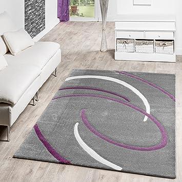 moderno tappeto salotto a pelo corto modello spirali grigio crema ... - Soggiorno Grigio E Lilla