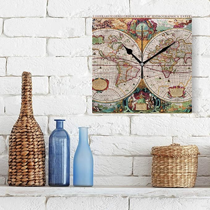 Amazon.com: CoolPrintAll Vintage Old World Map 7.87 Inch Decorative Wall Clock, Quartz Battery Operated Home/Office/School Clock: Home & Kitchen
