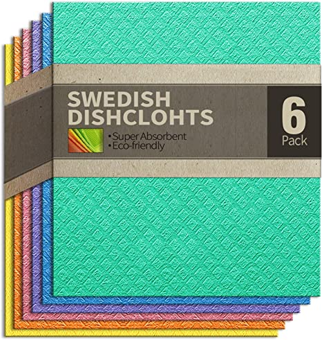 12 Pack of Eco-Friendly Quick Dry Kitchen Dish Cloths and Dish Towels Orange cce Swedish Dishcloth Reusable Cellulose Sponge Cloths for Kitchen Absorbent Cleaning Cloths for Washing Dishes