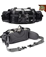 Outdoor Fanny Pack Hiking Camping Fishing Waist bag 2 Water Bottle Holder Lumbar Pack