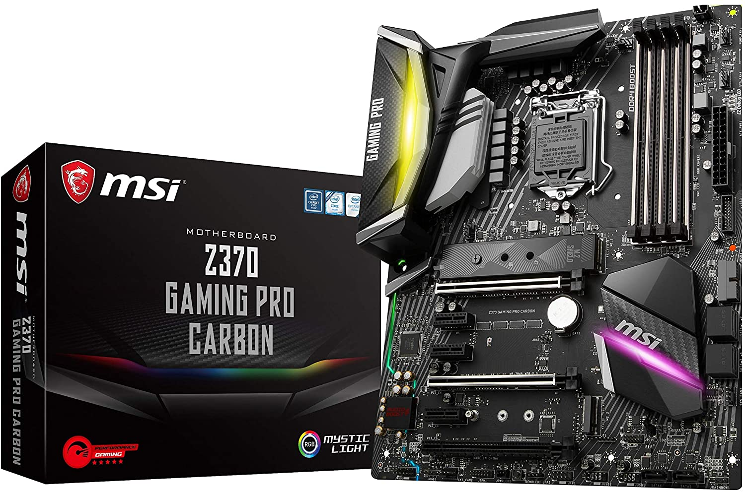 MSI Performance GAMING Intel 8th Gen LGA 1151 M.2 DVI HDMI USB 3.1 Gigabit LAN SLI CFX ATX Motherboard (Z370 GAMING PRO CARBON)