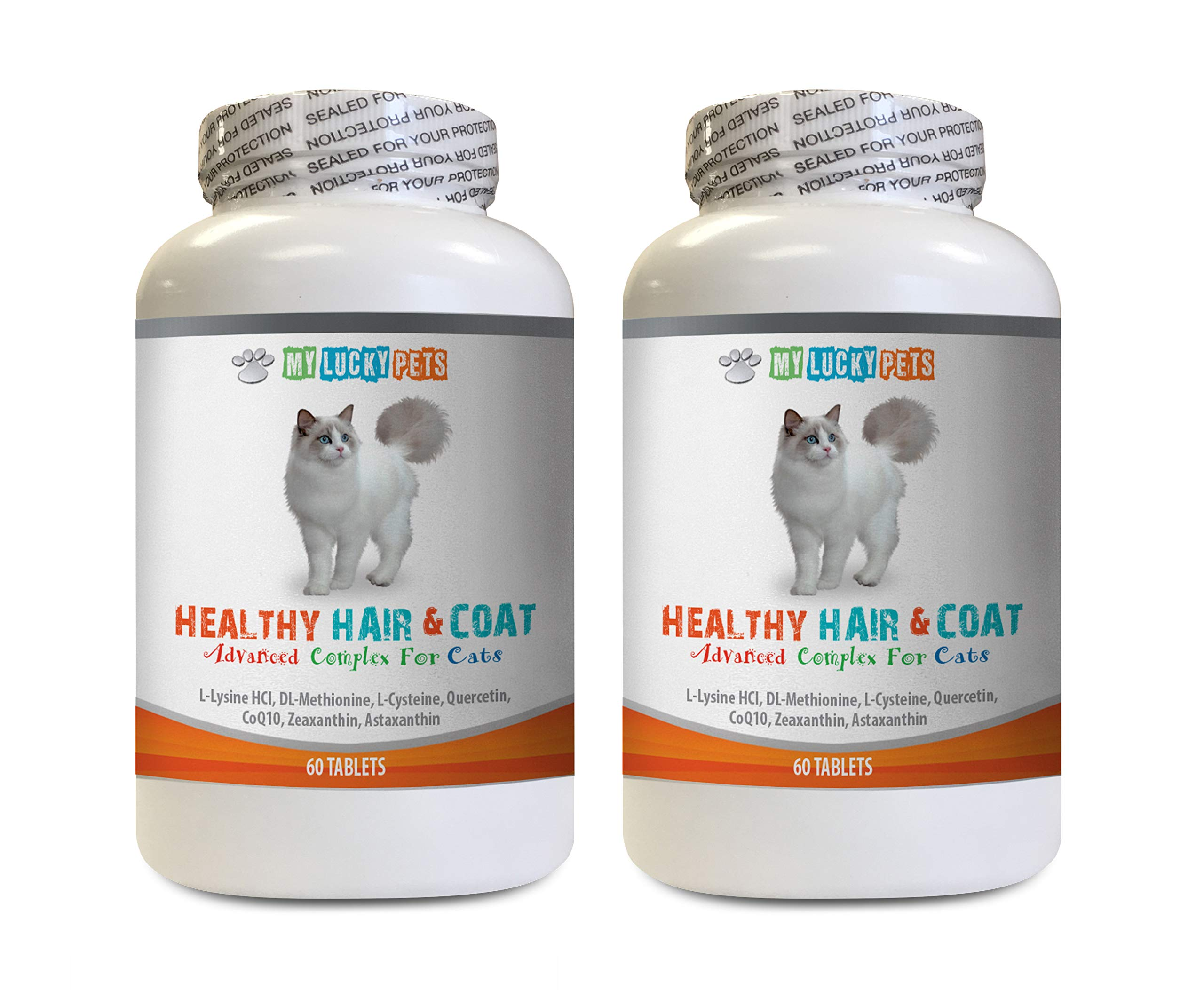 MY LUCKY PETS LLC Dry Skin Care for Cats - Cats Healthy Hair and Coat - Good Immune Response - Nail Health - Shiny Coat - cat Vitamins Senior - 2 Bottles (120 Tablets) by MY LUCKY PETS LLC