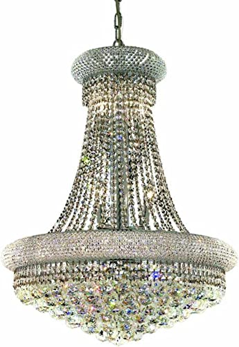 Elegant Lighting 1800D24C RC Primo 32-Inch High 14-Light Chandelier, Chrome Finish with Crystal Clear Royal Cut RC Crystal