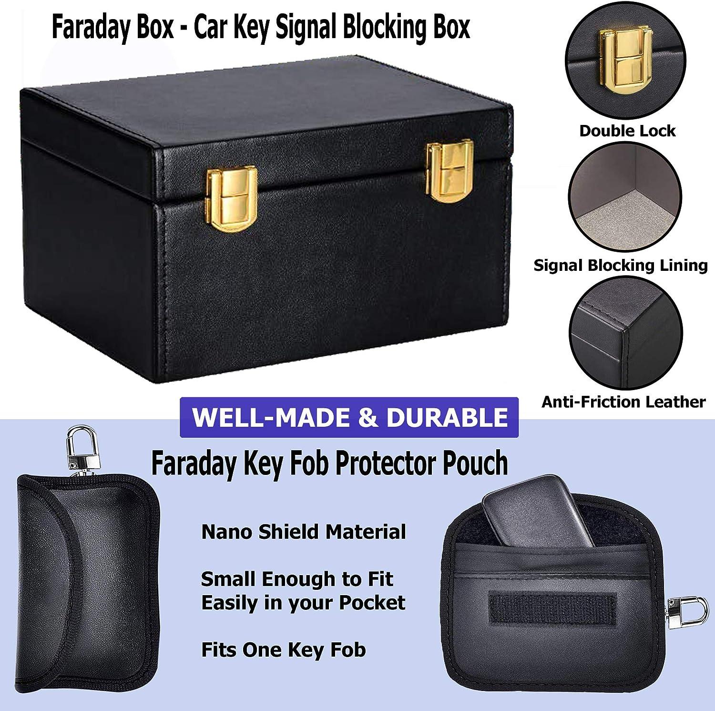 RFID Blocking Anti-Theft Security Case by Glenbarn Faraday Box Relay Attack Prevention Blocks Keyless Entry Car Keys Being Scanned Car Key Signal Blocker Box /& Spare Key Faraday Pouch
