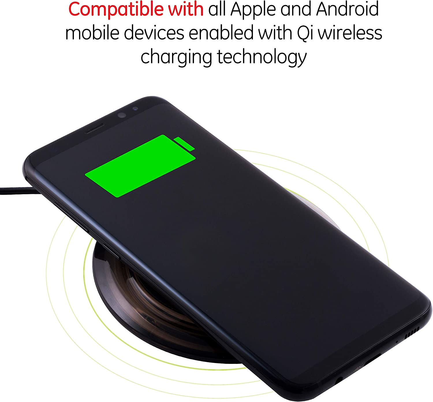 AC Adapter Not Included LightPix Labs Power Lens Wireless Charger for iPhone 11 Pro Max//11 Pro//11//Xs Max//XS//XR//X//8//8 Plus and More Samsung S10//S9//S8//S7//Note 10//Note 9