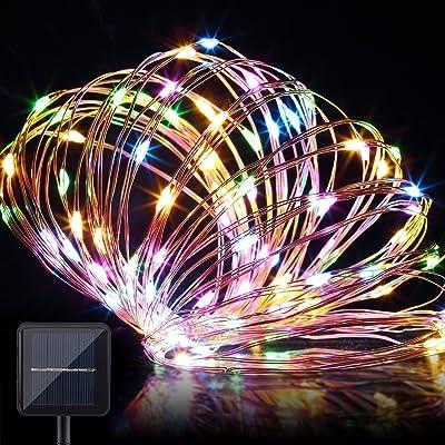 énergie solaire Guirlande lumineuse 10,1m 100LED Fil de cuivre Guirlande lumineuse Intérieur/extérieur étanche Décoration Solaire lumières Starry Guirlande lumineuse pour