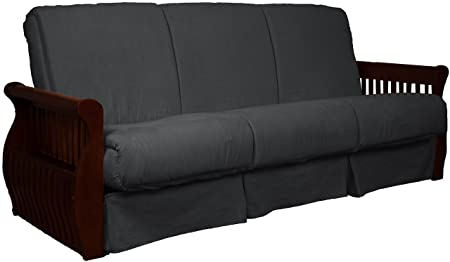 Laguna Perfect Sit Sleep Pocketed Coil Inner Spring Pillow Top Sofa Sleeper Bed, Full-size, Mahogany Arm Finish, Microfiber Suede Slate Grey Upholstery