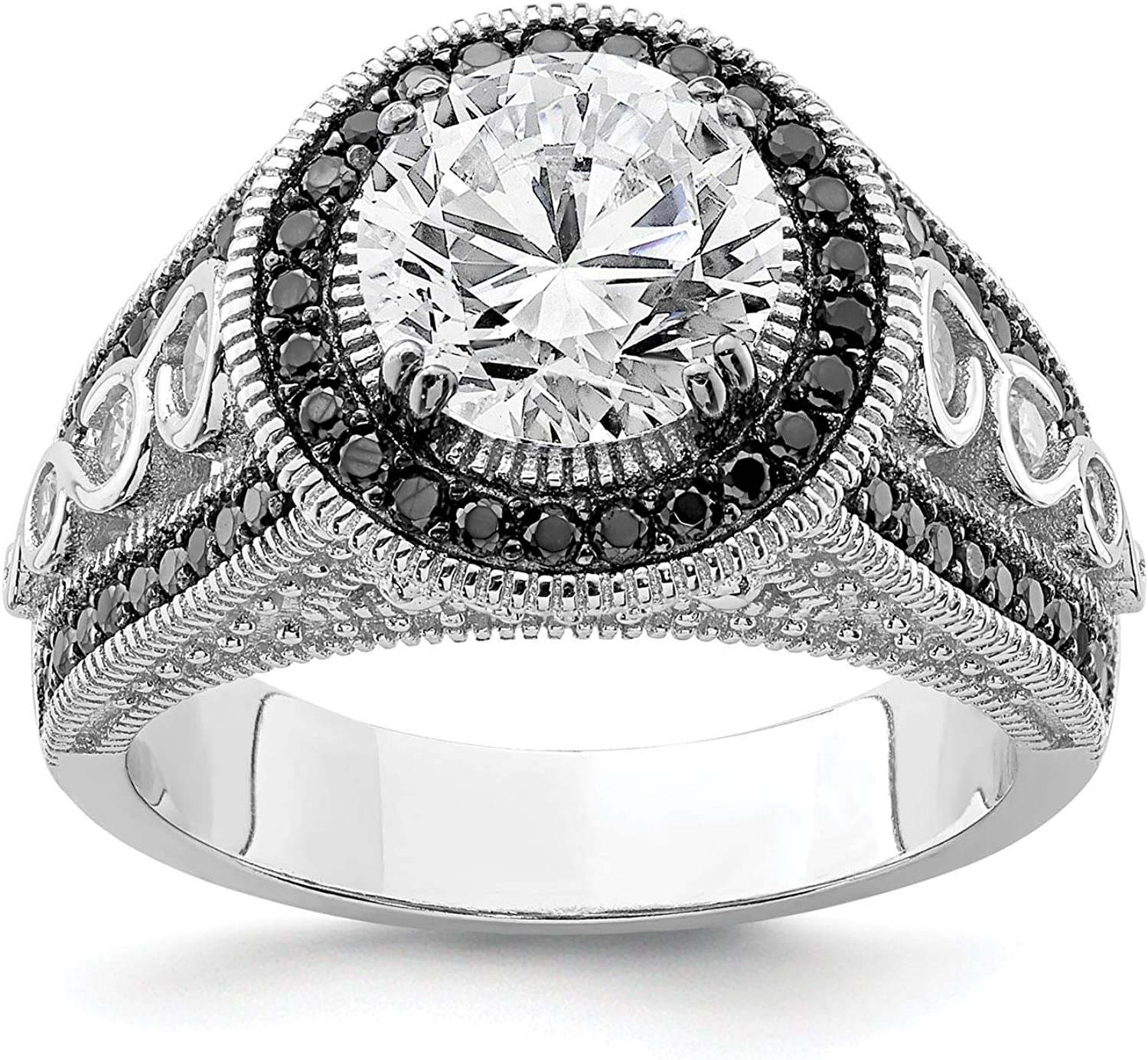 925 Sterlign Silver Rhodium-plated Black /& White CZ Halo Engagement Ring Size 6-8
