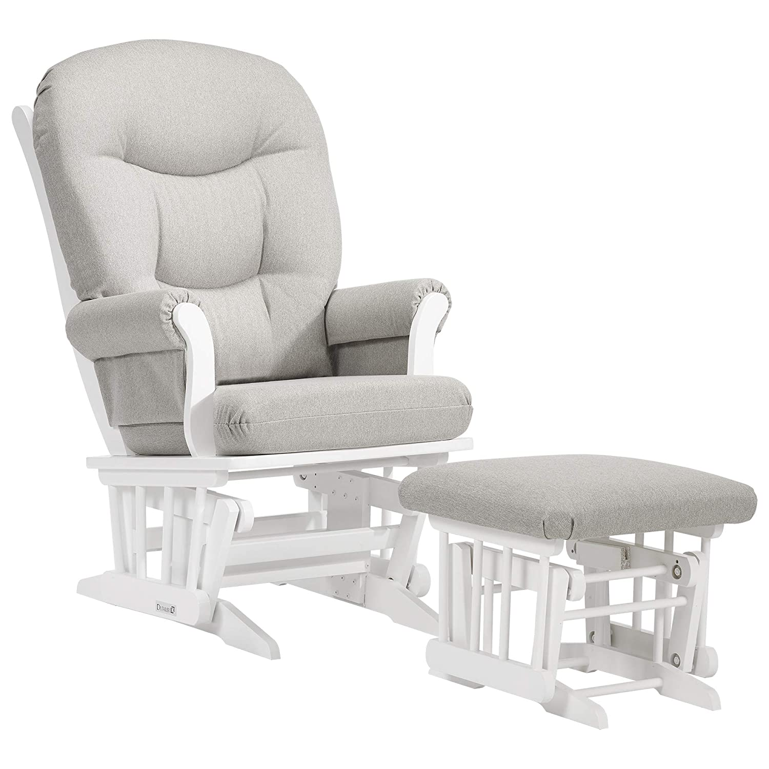 Amazon Com Dutailier Adèle Glider Chair And Ottoman Set White Light Grey Baby