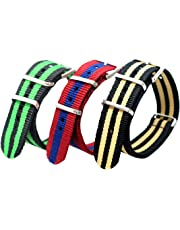 Jilafer Watch Bands 3 Pcs Premium Ballistic Nylon Straps NATO Style - Choice of Color & Size