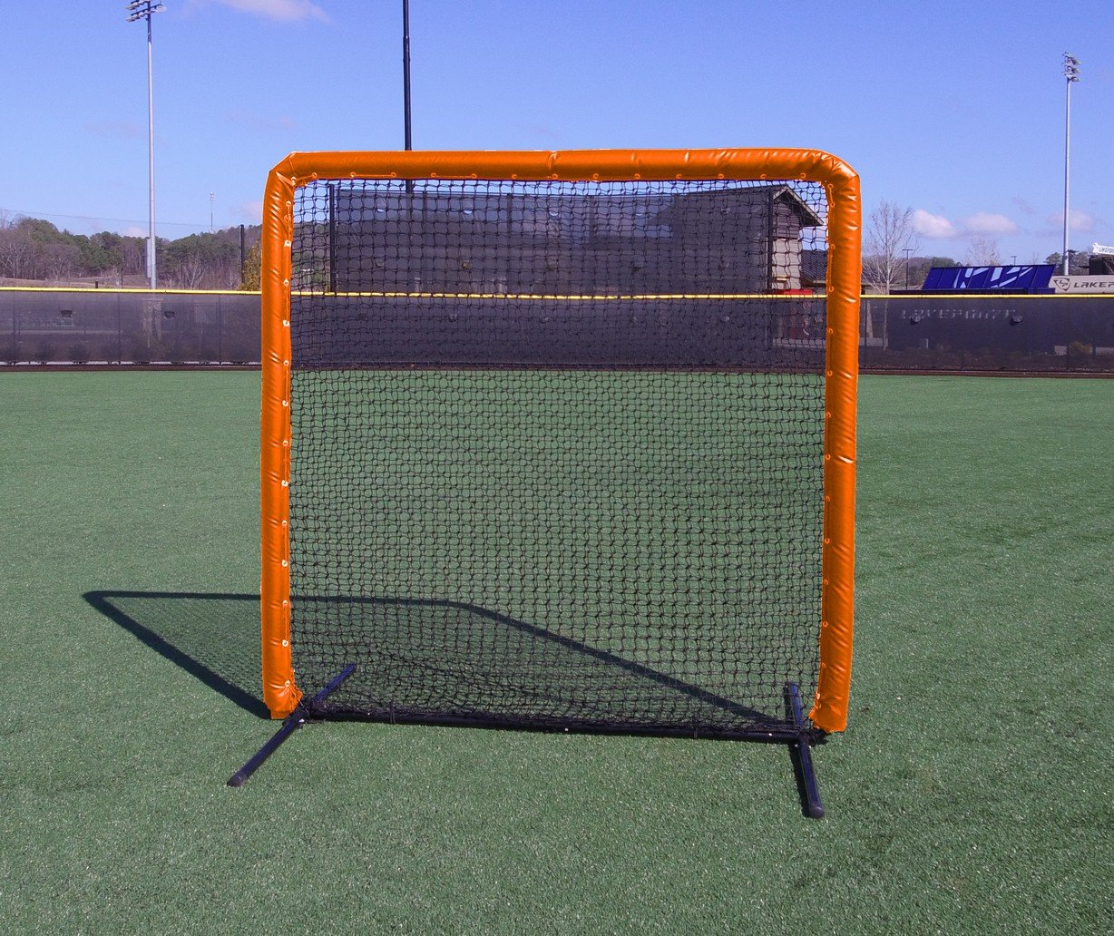 Armor Series 7X7 Protective Screen with Screen Bulletz. Baseball/Softball Padded Practice Screen Net with Vinyl Padding. Choose Color! (Orange) by Armor