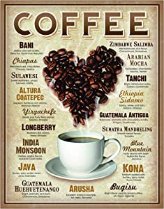 Ryantey Metal Tin Sign Retro Vintage Heart Coffee Sign for Home and Bar Wall Decor 8x12 Inch (Hart Coffee)
