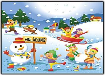 12er Set Einladungskarten Kindergeburtstag Schneelandschaft Winter