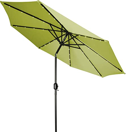 Trademark Innovations Deluxe Solar Powered LED Lighted Patio Umbrella, Light  Green, 9 Feet