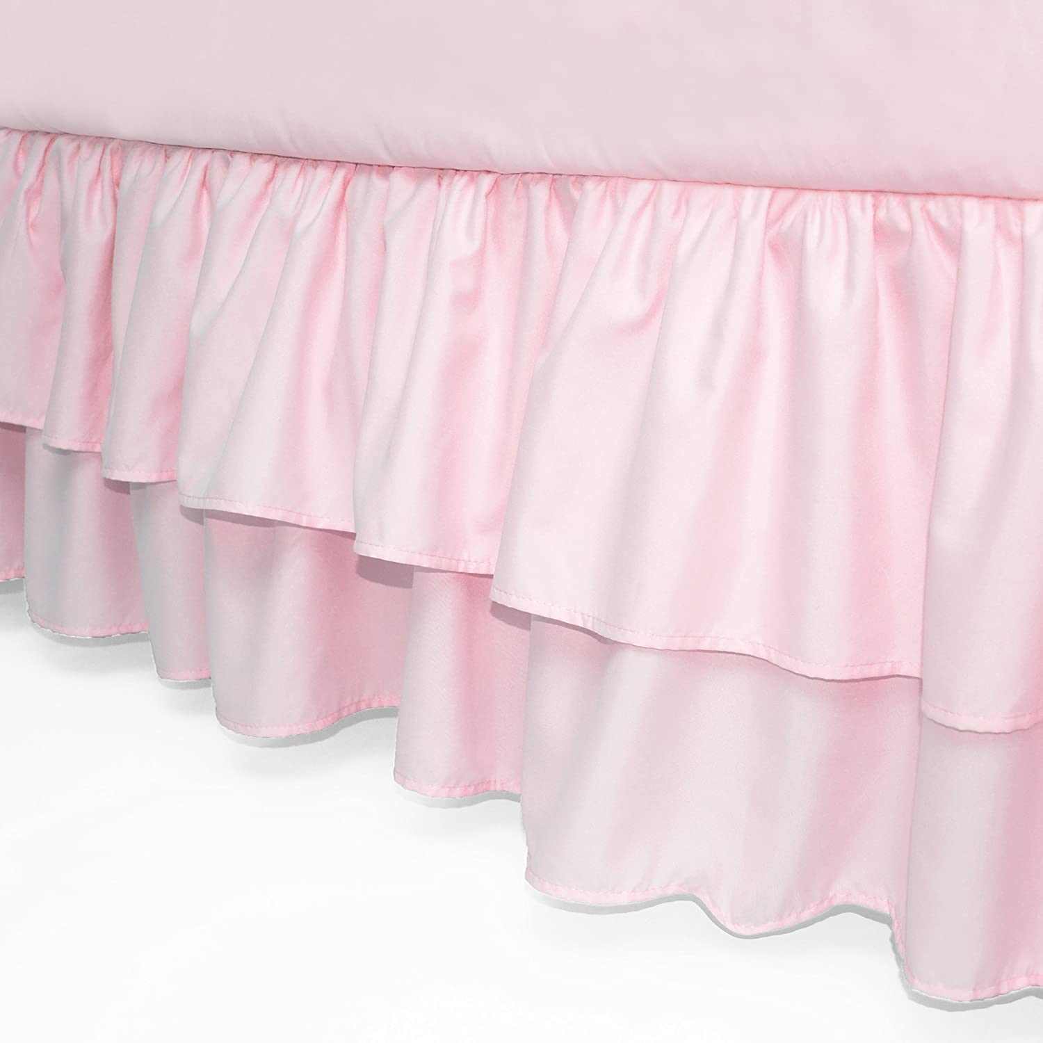 American Baby Company Double Layer Ruffled Crib Skirt, Blush Pink, for Girls