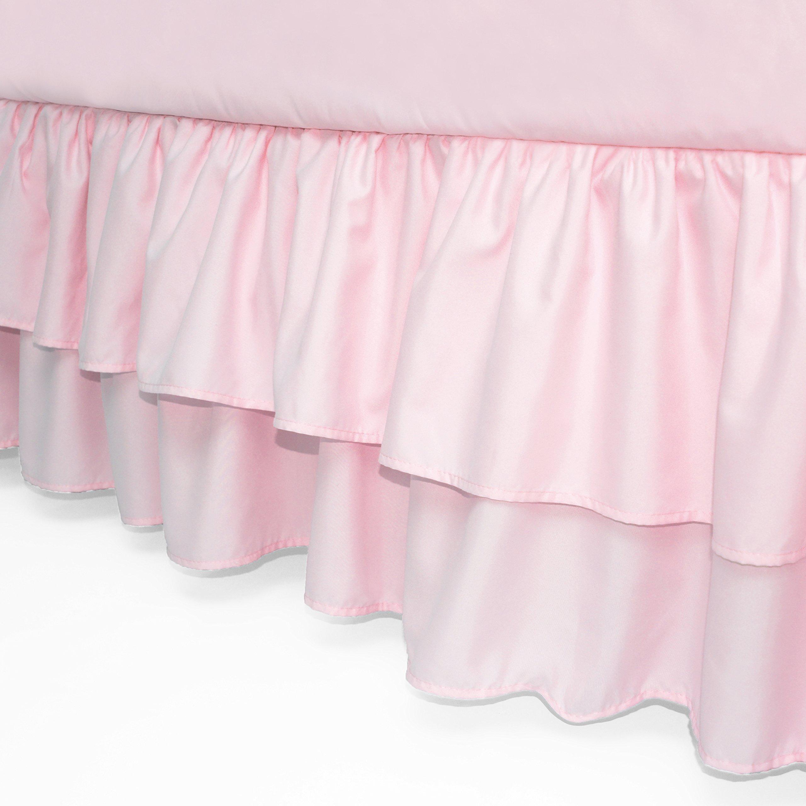 American Baby Company Double Layer Ruffled Crib Skirt, Pink