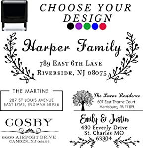 17+ Designs to Choose!! Customized Self Inking Return Address Stamp - Custom Address Stamper - Black Red Blue Purple Green Ink - Wedding Invitation Stamp