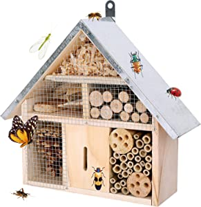 HWONMTE Insect House for Garden Natural Wooden Insect Hotel for Ladybugs/Mason Bees/Butterflies Live Outdoor