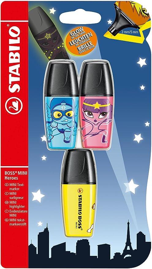 Stabilo Boss B-45600-10 - Subrayadores (pequeños, 3 unidades), color amarillo, rosa y azul: Amazon.es: Oficina y papelería