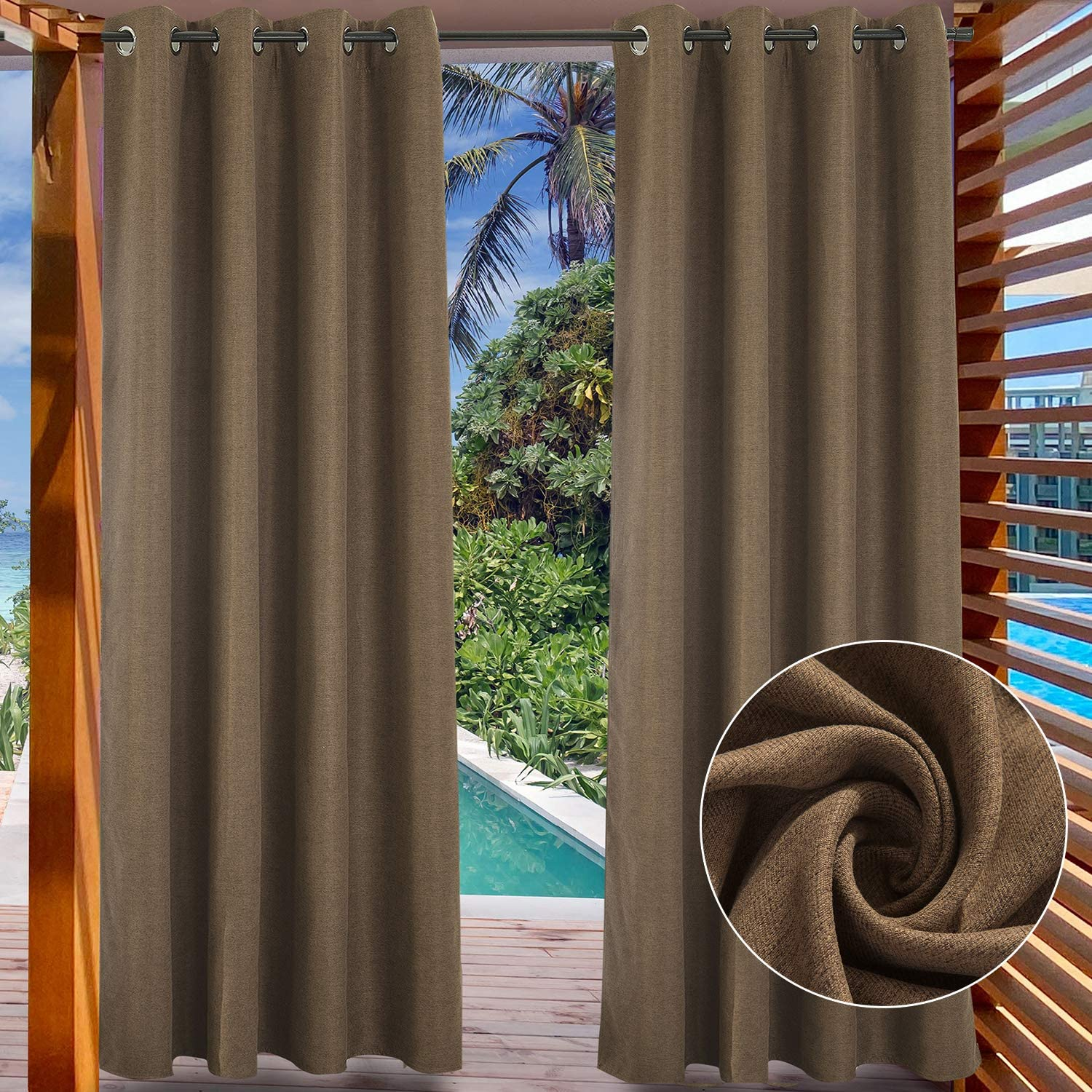 """LIFONDER Windproof Patio Outdoor Curtains - Grommet Indoor/Outdoor Blackout Drapes Blinds Pergola Curtain Panels Cabana Shade Draperies, Coffee Brown, 52"""" Width by 108"""" Length, 1 Piece 52""""W X 108"""" L Coffee Brown"""