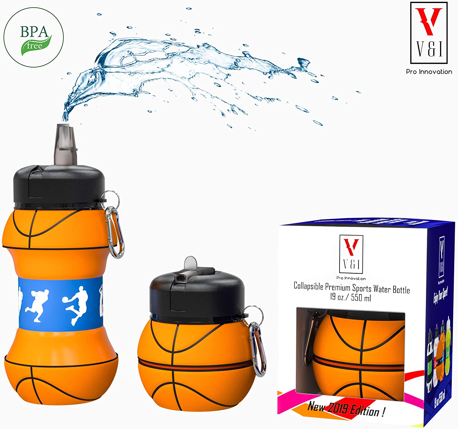 Kids Sports Water Bottle Collapsible Ball Shaped Drinking Cup Leak Proof School Lunch Mug Shockproof Squeezable Basketball Baseball Tennis Soccer Golf Volleyball Team Foldable Travel Jug Gift Idea