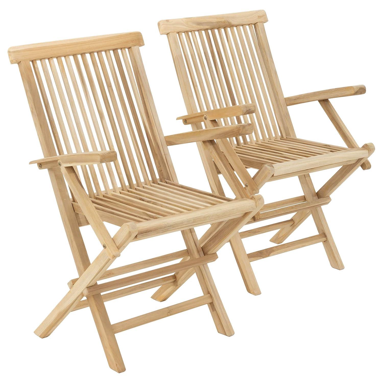 Divero GL05037_SL Stuhl 2er-Set Gartenstuhl Terrassenstuhl Klappstuhl aus Teak-Holz Hochlehner mit Armlehnen klappbar massiv unbehandelt Natur,