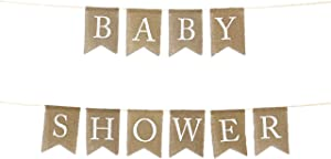 Andaz Press Real Burlap Fabric Pennant Hanging Banner Baby Shower, Pre-Strung, No Assembly Required, 1-Set