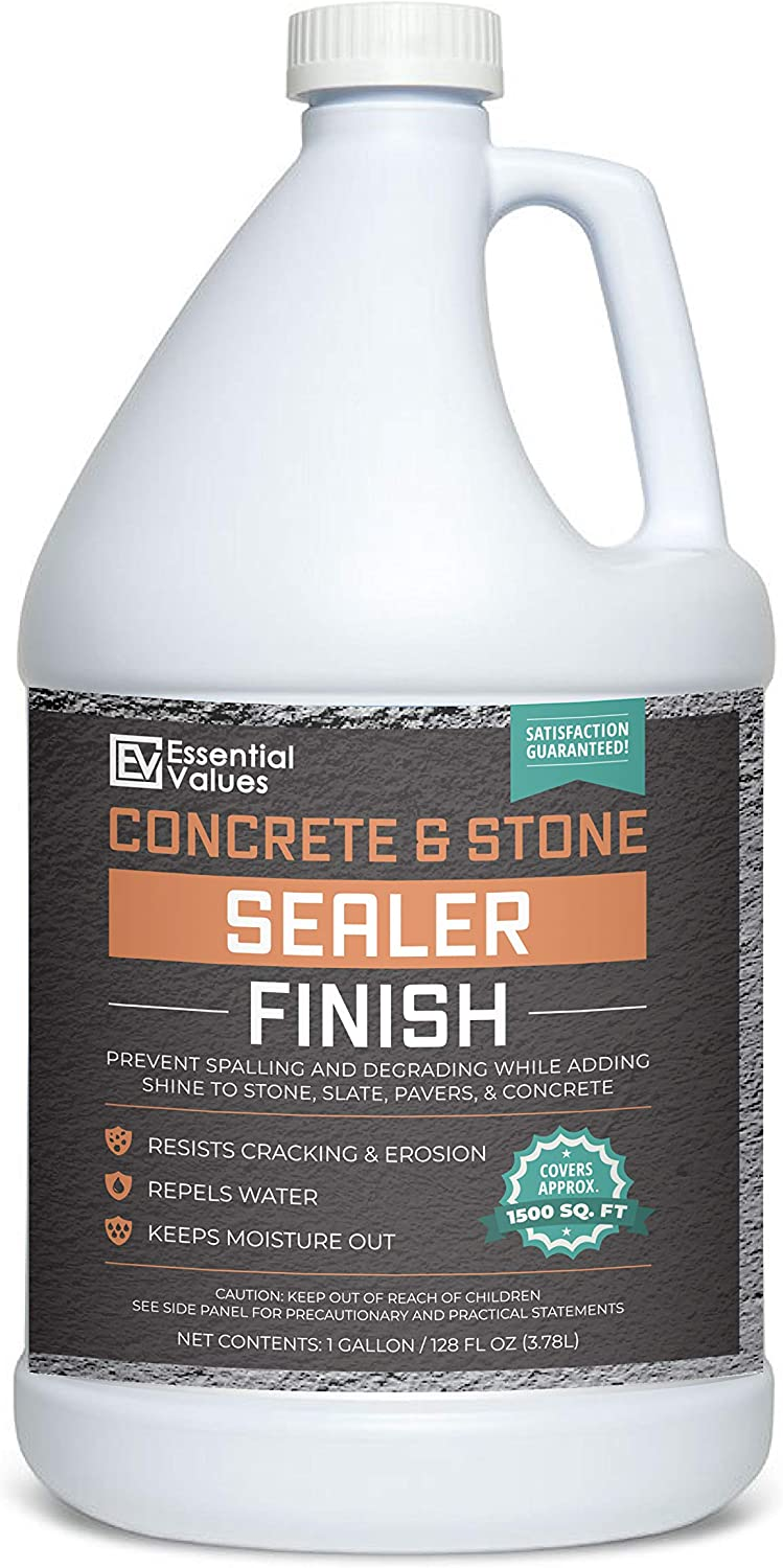 Essential Values 1 Gallon Concrete Sealer (Covers 1500 Sq Ft) – an Excellent Clear & Wet Sealant Designed for Indoor/Outdoor Stone Surfaces - Perfect for Concrete | Driveways | Garages | Basements