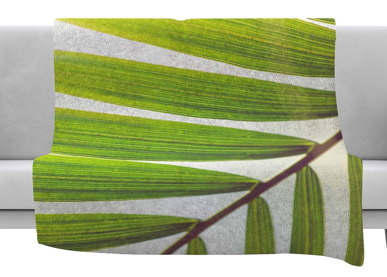 80 x 60 Fleece Blanket Kess InHouse Ann Barnes Jungle Abstract Green White Throw