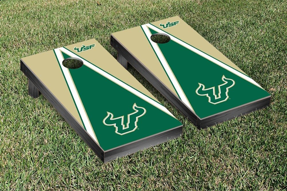 South Florida USF Bulls Regulation Cornhole Game Set Triangle Version