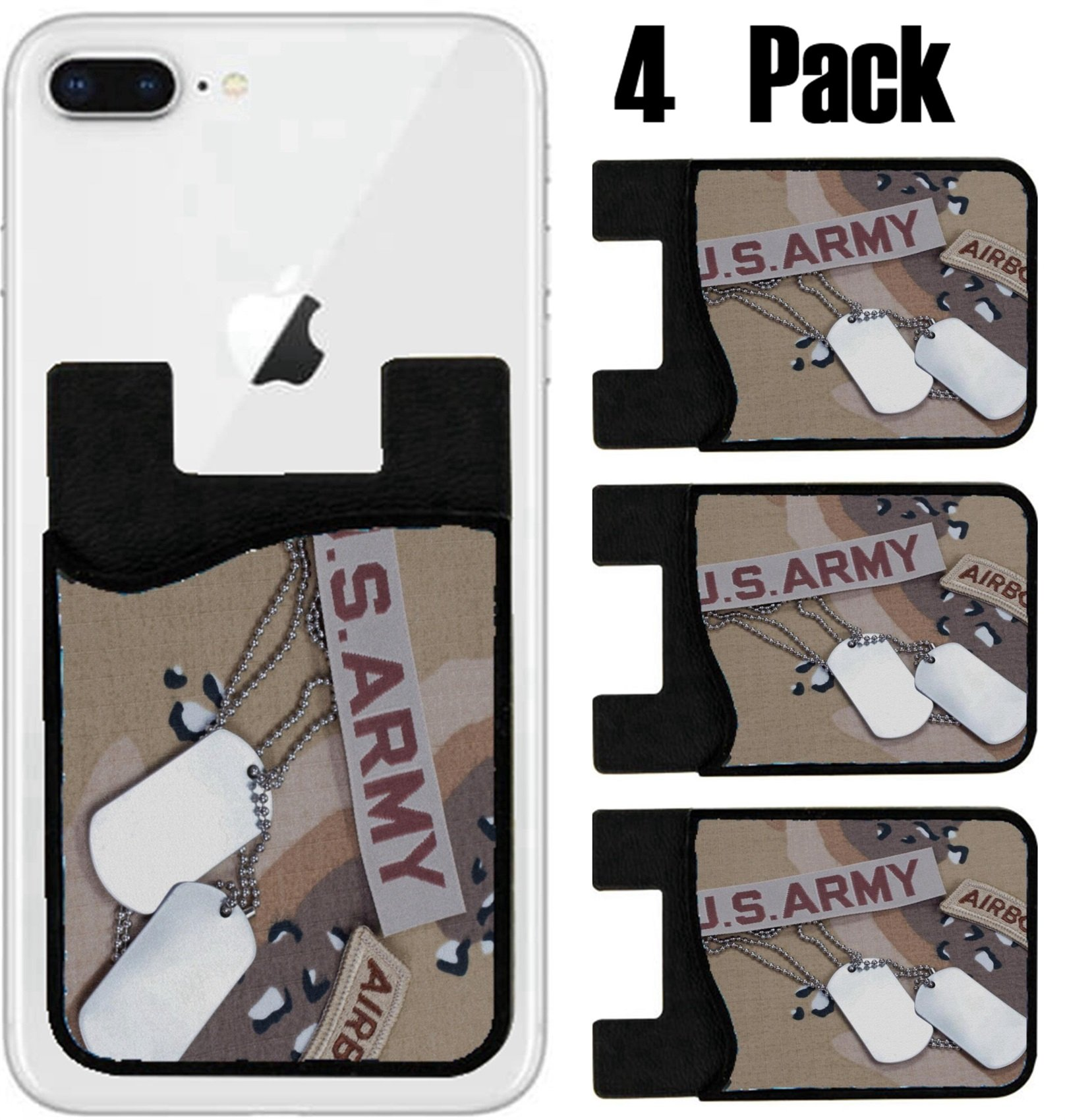 MSD Phone Card holder, sleeve/wallet for iPhone Samsung Android and all smartphones with removable microfiber screen cleaner Silicone card Caddy(4 Pack) US ARMY airborne tab with blank dog tags on cam