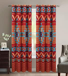 Western Essence Southwestern Native American Window Treatment Curtain Drapes Set with Thermal Insulation and Grommets in Brown Turquoise Blue Orange and Burgundy - Austin Brown Thermal Curtain Set