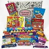 Kleiner Retro Candy Geschenkkorb   Vintage Süßigkeiten Geschenkkorb aus Großbritannien   Auswahl beinhaltet Haribo und Lollis   gemischte Naschtüte verschenken   20 Produkte in einer tollen retro Geschenkebox