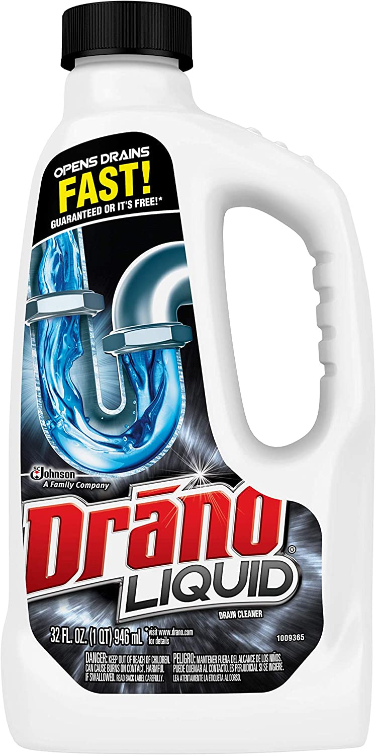 Amazon Com Drano Liquid Drain Clog Remover And Cleaner For Shower Or Sink Drains Unclogs And Removes Hair Soap Scum Blockages 32 Oz Health Personal Care