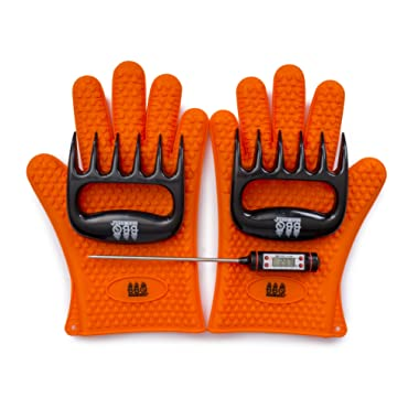 BBQ Gloves, Meat Claws and Digital Instant Read BBQ Thermometer - Heat Resistant/Silicone Gloves - BBQ Grilling Tool Accessories