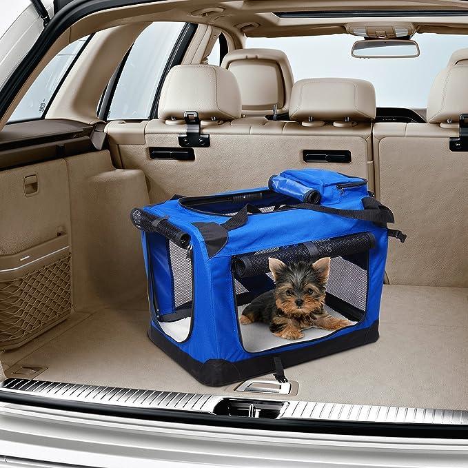 Bolsa de Transporte Perros Gatos Mascotas Viaje Tubo de Acero 4 Entradas, Medidas 70 x 52 x 52 cm, Color Azul/Negro,Pawhut: Amazon.es: Jardín
