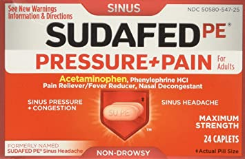 Sudafed Pressure and Pain Caplets for Adults, 24 Count,Pack of 2