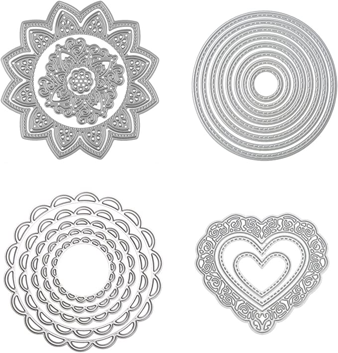 Vbiwwxos Cutting Dies for Card Making Word Circle Metal Die Cuts Clearance Embossing Stencil Album Stamp Paper Card Craft Decoration Scrapbooking Supplies