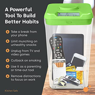 Buy Kitchen Safe Time Locking Container Xl Timed Lock Box For Cell Phones Snacks And Other Unwanted Temptations White Lid 10 4 Clear Base Online In Italy B00uy0tl5q