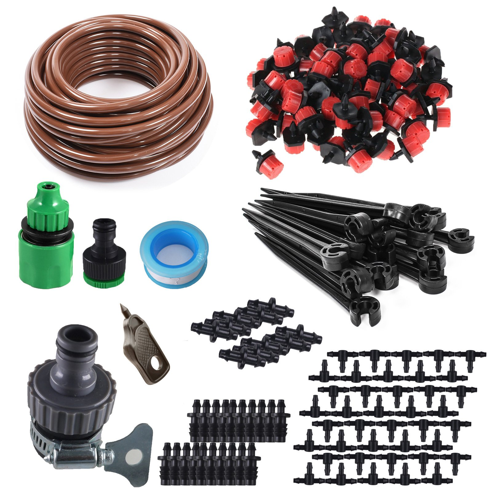 KORAM 100ft 1/4'' Blank Distribution Tubing Irrigation Gardener's Greenhouse Plant Cooling Suite Watering Drip Repair and Expansion Kit Accessories Include Universal Spigot Connector IR-2F