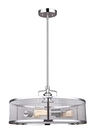 CANARM LTD ICH626A03BN20 Beckett 3 Bulb Rod Chandelier, Brushed Nickel with Metal Mesh Shade, 3 Light
